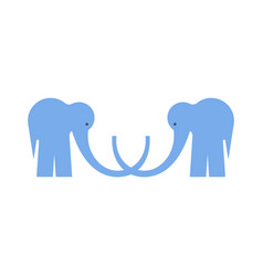 Logotype with two blue flat elephants on white vector
