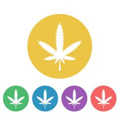marijuana leaf set colored round icons vector image