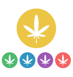 marijuana leaf set of colored round icons vector image