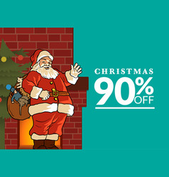 merry christmas discount offer greeting card vector image