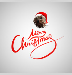merry christmas letters red dog vector image