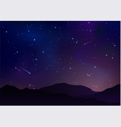 night starry sky with bright stars planets vector image