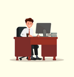 office worker man behind a desktop vector image