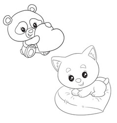 Outline set a panda with a big heart and a vector
