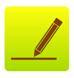 Pencil sign brown icon at vector