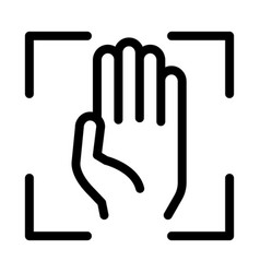 person handprint scan icon outline vector image