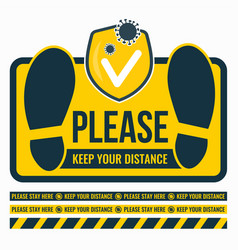 please keep your distance yellow sticker vector image