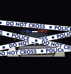 police tape with police car behind vector image