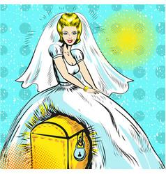 pop art bride sitting on vector image
