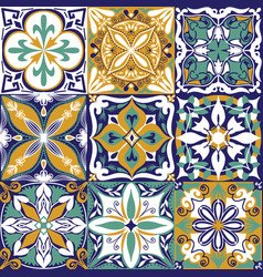 portuguese azulejo tiles seamless pattern vector image