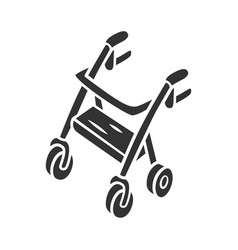 Rollator walker glyph icon mobility aid device vector