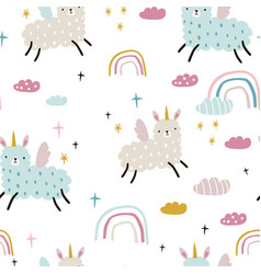 seamless childish pattern with funny llama vector image