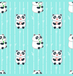 seamless pattern with cute eating panda vector image