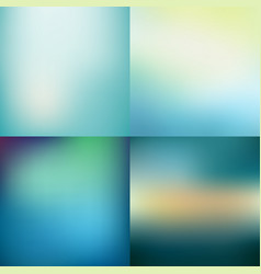 Set of abstract colorful blue blurred backgrounds vector
