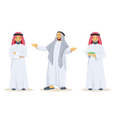 set of arab guy wearing traditional clothes vector image