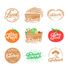 set of farm hand written lettering logos labels vector image