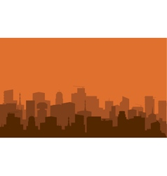 Silhouette of city with brown color vector image vector image
