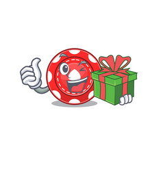 Smiley gambling chips character with gift box vector
