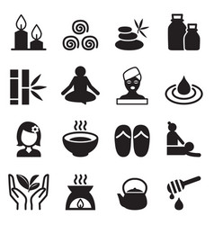 Spa alternative therapy icons set vector