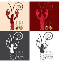 Spiral lobster bar with beer design template vector
