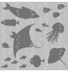 Stripy seamless pattern with fish silhouettes vector image