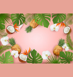 summer tropical background with palm leaves and vector image