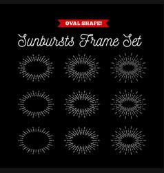 sunbursts frame set oval shape vector image