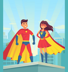 super heroes comic couple superhero cartoon man vector image