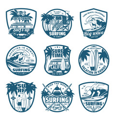 surfing sport isolated icons surfer club vector image