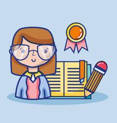 Teacher woman with school tools education vector