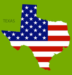Texas state america with map flag print on map vector