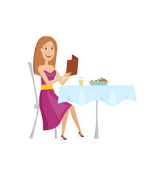 The woman in the restaurant for dinner flat and vector