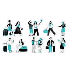 travel people collection people travellers vector image