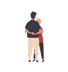 two cartoon men hugging each other flat vector image