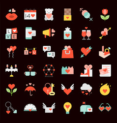 valentine and romance elements flat icon such as vector image