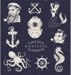 Vintage hand drawn nautical set vector