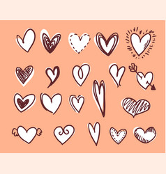 white hearts with outline vector image