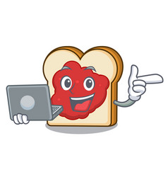With laptop bread with jam character cartoon vector