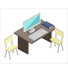 Workplace with Computer vector image