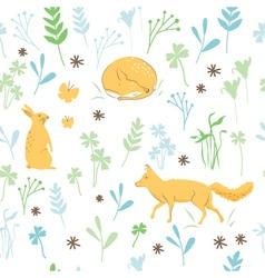 Childish animals pattern vector image vector image