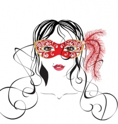 girl in a carnival mask vector image vector image