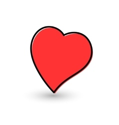 Hand-drawn painted red heart vector image
