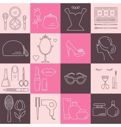 Makeup Cosmetic and Beauty line icons vector image