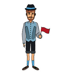 Man with custome traditional switzerland flag vector