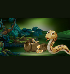 scene with snakes hatching egg vector image vector image