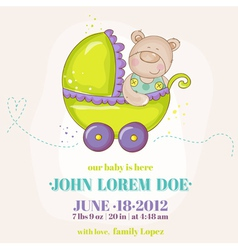 Baby Boy Arrival Card - Baby Bear in Carriage vector image vector image