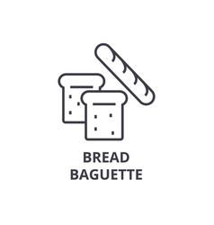 bread baguette line icon outline sign linear vector image