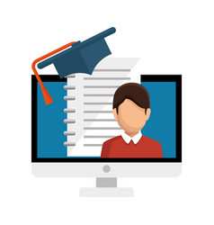 computer desktop with ebook isolated icon vector image vector image