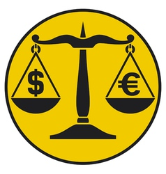 dollar and euro on the balance vector image vector image