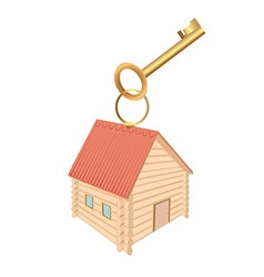 Keychain in the form of log houses and red roof vector